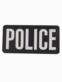 "Pvc Morale Patch - Police, Black And White Letters, 6"" X 3""-"