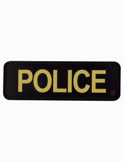 "Police Black With Gold Letters 6"" X 2"" Morale Patch-"