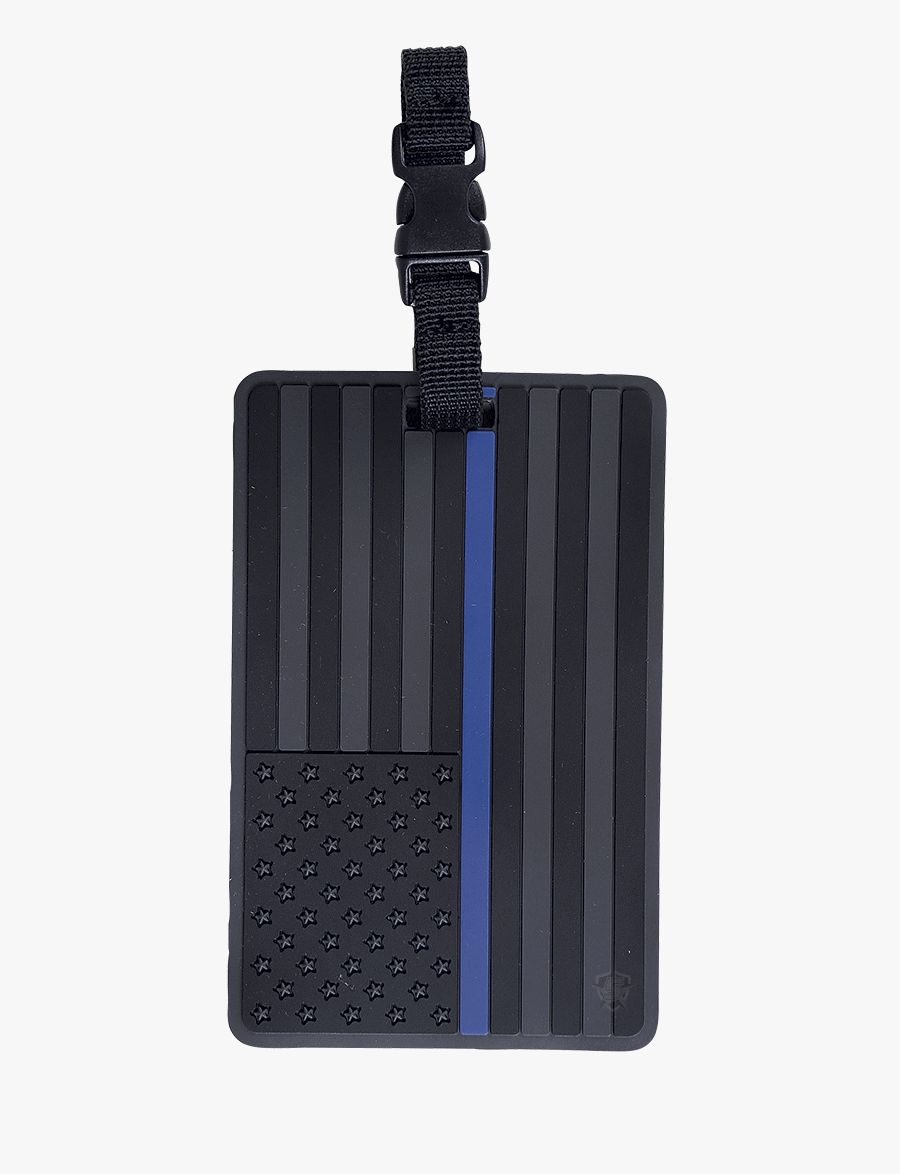 Black Us Flag With Blue Stripe, Luggage Tag-Tru-Spec