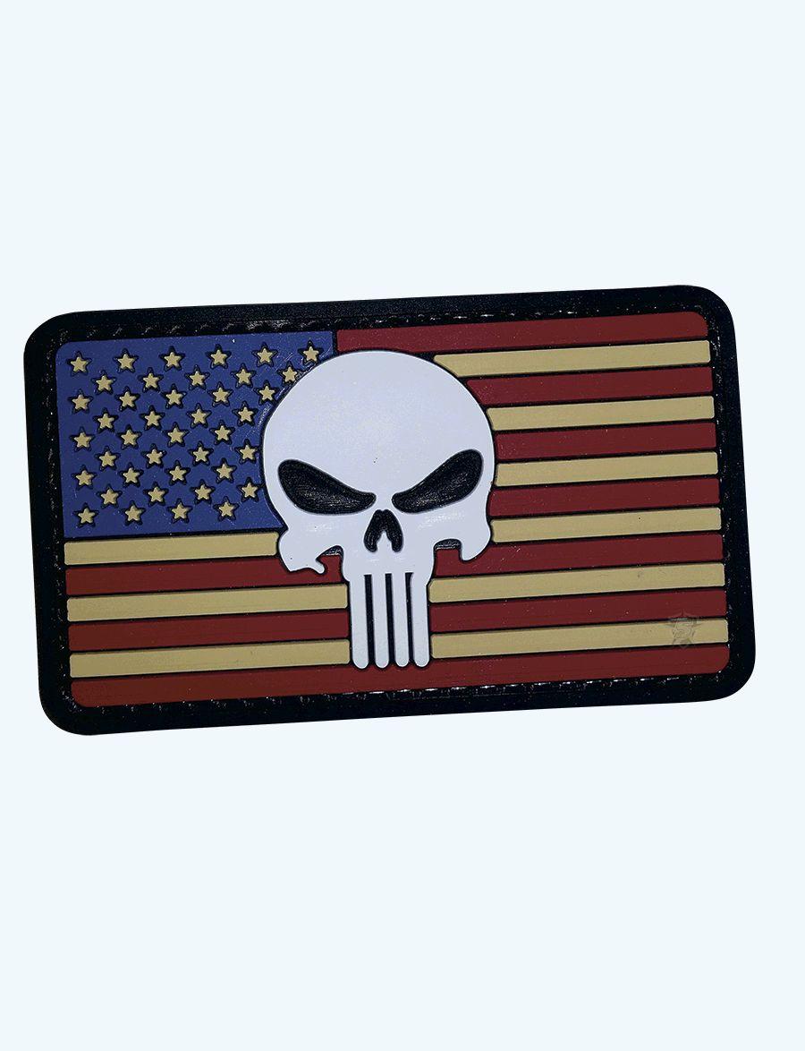 Pvc Morale Patch - Vintage Flag / Punisher-