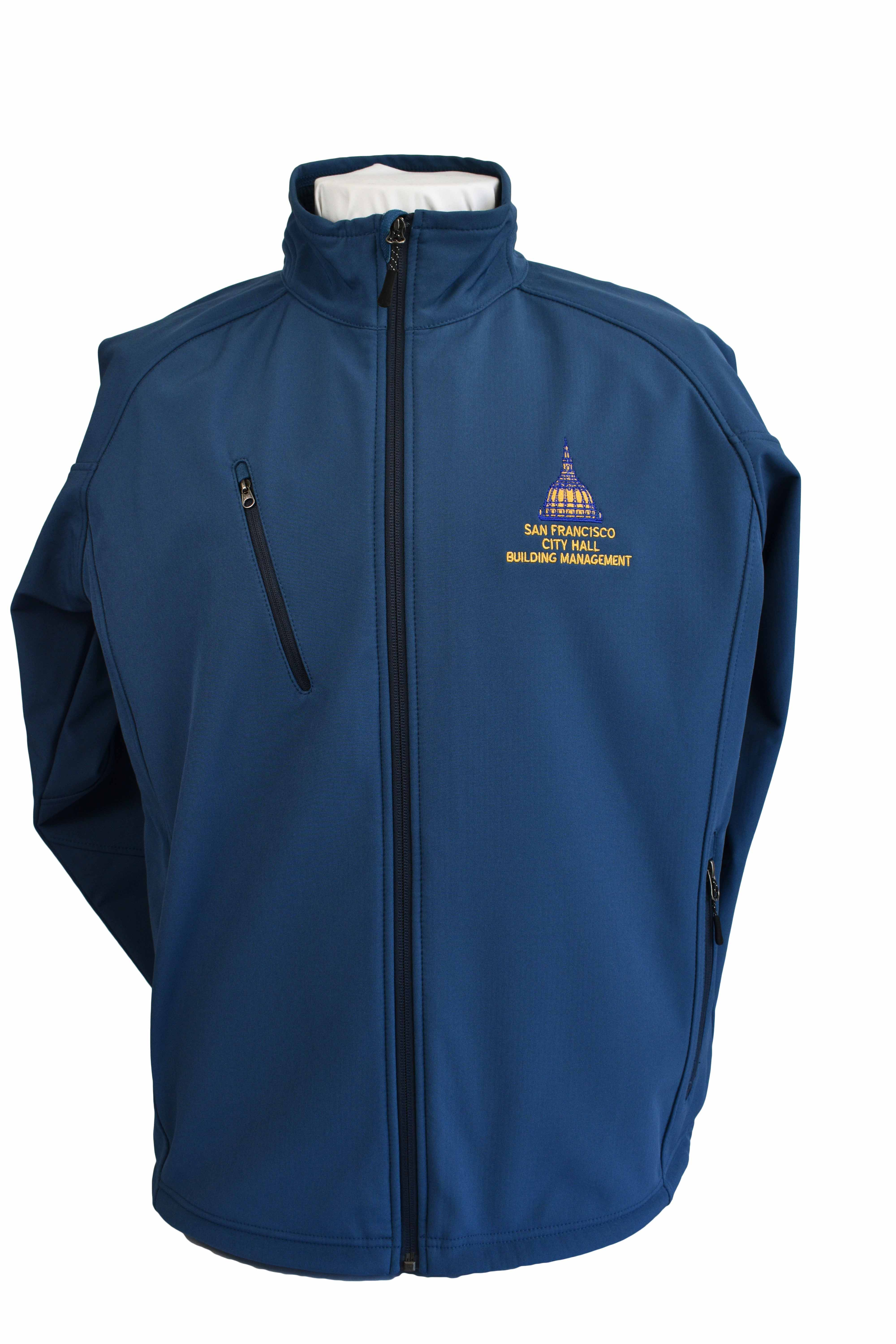 san francisco city hall building management uniforms blue jacket embroidery logo