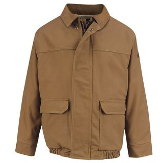 Brown Duck Lined Bomber Jacket - EXCEL FR ComforTouch-Bulwark®