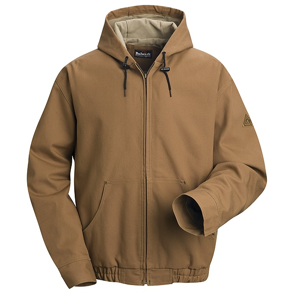 Brown Duck Hooded Jacket - EXCEL FR ComforTouch-Bulwark®