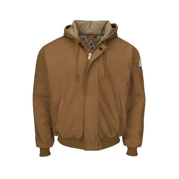 Brown Duck Hooded Jacket with Knit Trim-Bulwark®