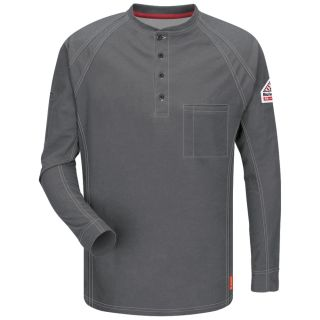 IQ Series Mens Comfort Knit Long Sleeve Henley with Insect Shield-Bulwark®
