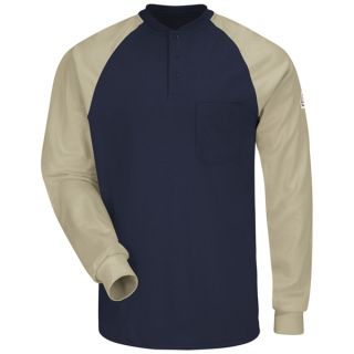 Long Sleeve Color-Block Tagless Henley Shirt - EXCEL FR-