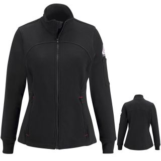 Female Zip Front Fleece Jacket-Cotton/Spandex Blend-