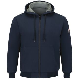 Full Zip-Front Hooded Waffle-Lined Sweatshirt - Cotton/Spandex-