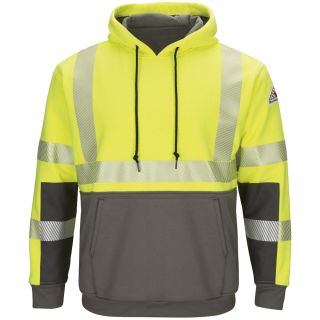 Hi-Visibility Color-Blocked Pullover Hooded Fleece Sweatshirt-