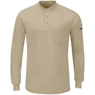 Mens Long Sleeve Lightweight Henley Shirt-Bulwark®