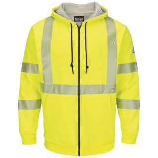 Bulwark® Industrial Shirts Hi-Visibility Zip-Front Hooded Fleece Sweatshirt with Waffle Lining-Bulwark