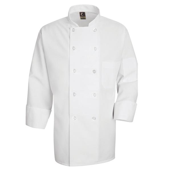 0423 Mens Ten Pearl Button Chef Coat-Chef Designs