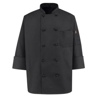 0427 Spun Poly Black Chef Coat-Chef Designs