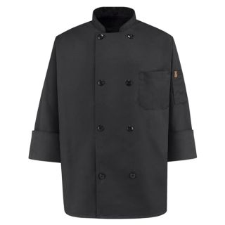 Eight Pearl Button Black Chef Coat-Chef Designs
