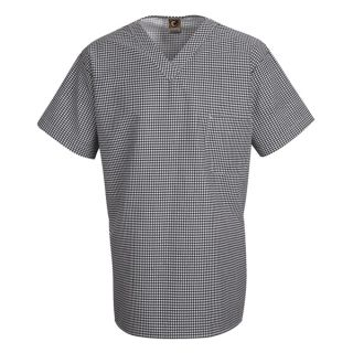 Checked V-Neck Chef Shirt-