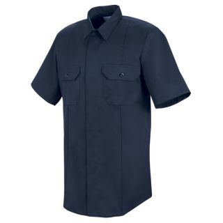 New Dimension Concealed Button Front Short Sleeve Shirt-