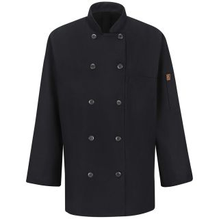 Womens Ten Button Chef Coat with MIMIX and OILBLOK-Red kap