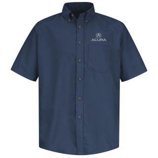Acura Mens Short Sleeve Poplin Dress Shirt - 1103NV-Red kap