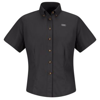 Audi Womens Short Sleeve Meridian Performance Twill Shirt - 1139BK-