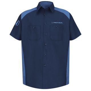 Honda Mens Short Sleeve Motorsports Shirt - 1295NP-Red Kap®
