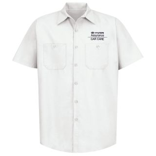 Red Kap® Branded Industrial Auto Hyundai M SS Poplin Workshirt - WH-Red kap