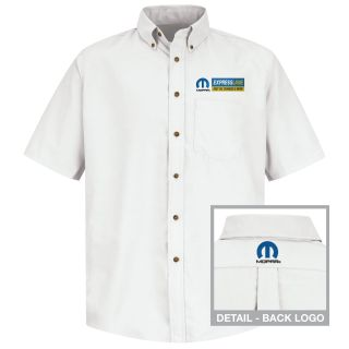 Red Kap® Branded Industrial Auto 1592WH Mopar Express M SS Poplin Shirt - WH-Red kap
