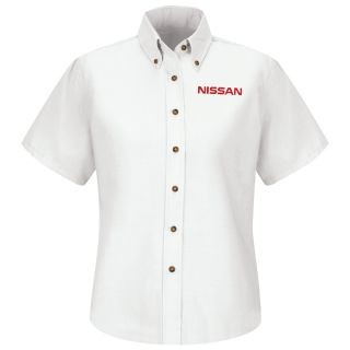 Nissan Womens Short Sleeve Poplin Dress Shirt - 1633WH-Red Kap®