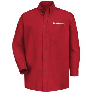 Red Kap® Branded Industrial Auto Nissan M LS Poplin Shirt - RD-Red kap