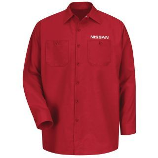 Nissan Mens Long Sleeve Industrial Work Shirt - 1641RD-