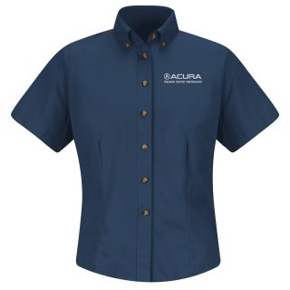 Acura Precision Womens Short Sleeve Meridian Performance Twill Shirt - 1872NV-