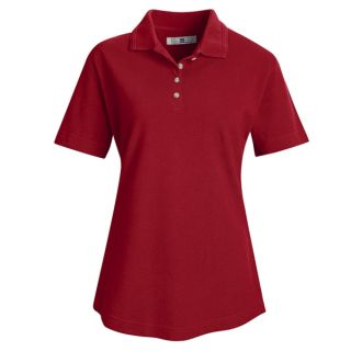 Womens Basic Pique Polo-Red kap