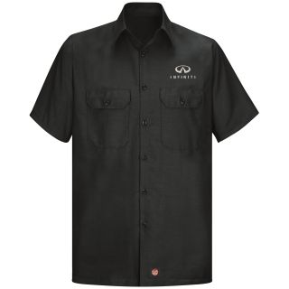 Infiniti Mens Short Sleeve Solid Ripstop Shirt - 9875BK-
