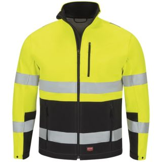 HI VIS Colorblock Softshell Jacket-Red Kap®