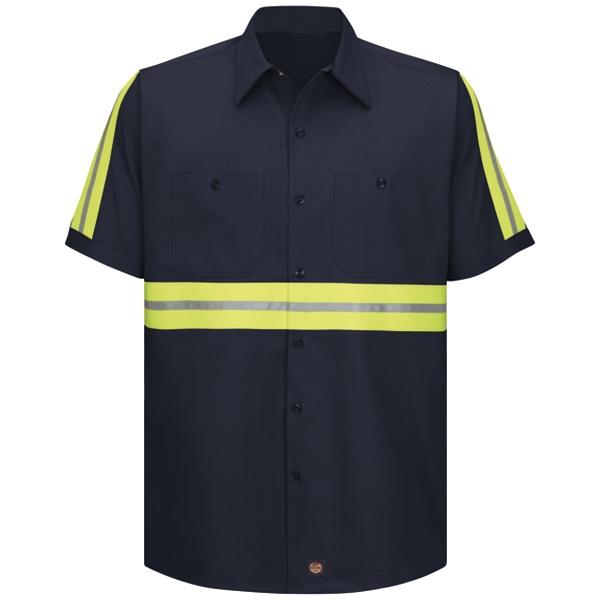 100/% Cotton Red Kap Reflective Shirt  Hi Vis Work Safety Uniform XL-SS
