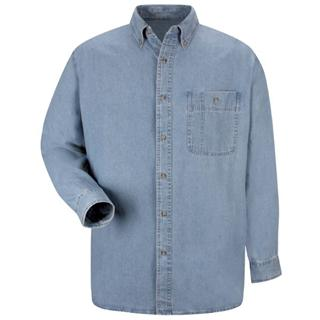 Mens Wrangler Denim Shirt-Red Kap®
