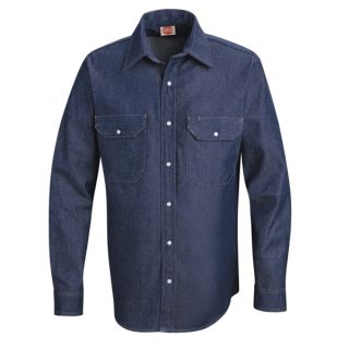 Mens Deluxe Denim Shirt-Red Kap®