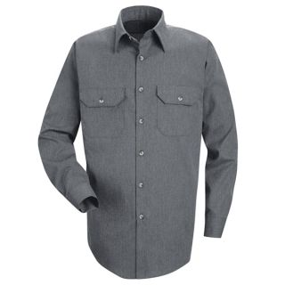 Mens Heathered Poplin Uniform Shirt-Red Kap®