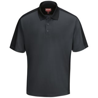 Mens Short Sleeve Performance Knit Two-Tone Polo-Red Kap®