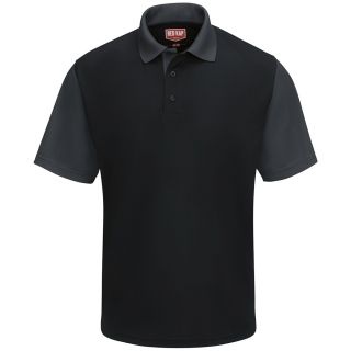 Mens Short Sleeve Performance Knit Color-block Polo-Red Kap®