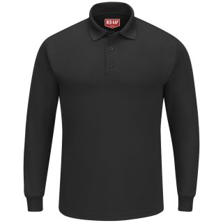 Mens Long Sleeve Performance Knit Polo-Red Kap®