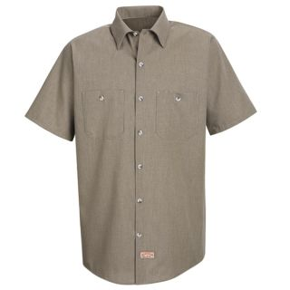 Mens Geometric Micro-Check Work Shirt-Red Kap®