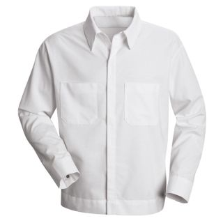 Mens Button-Front Shirt Jacket-Red Kap®
