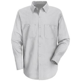 Mens Striped Dress Uniform Shirt-Red Kap®