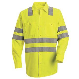 "Hi-Visibility Work Shirt - Class 3 Level 2 X"" Striping Configuration"""
