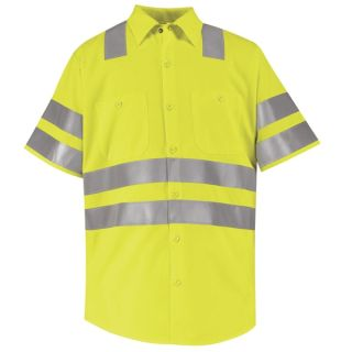 "Hi-Visibility Work Shirt - Class 2 Level 2 X"" Striping Configuration"""