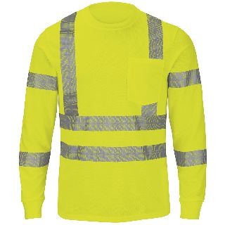 Performance Hi-Visibility Long Sleeve Class 3 T-Shirt-Red Kap®