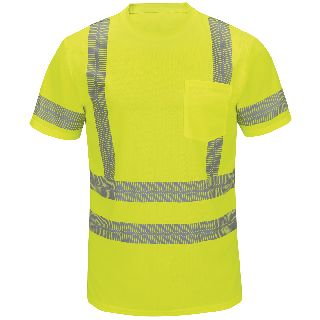 Performance Hi-Visibility Short Sleeve Class 3 T-Shirt-Red kap