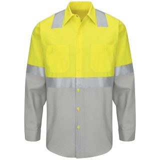 Hi-Visibility Color Block Work Shirt Class 2 Level 2-Red kap