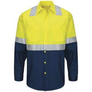 Hi-Visibility Colorblock Ripstop Work Shirt - Type R, Class 2-Red kap