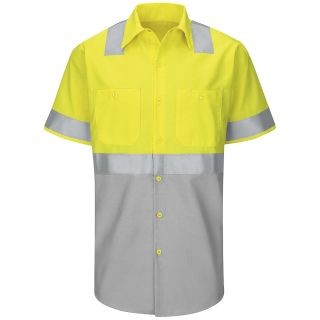 Red Kap® Industrial Shirts SY24_Class2Level2 Hi-Visibility Color Block Work Shirt Class 2 Level 2-Red kap